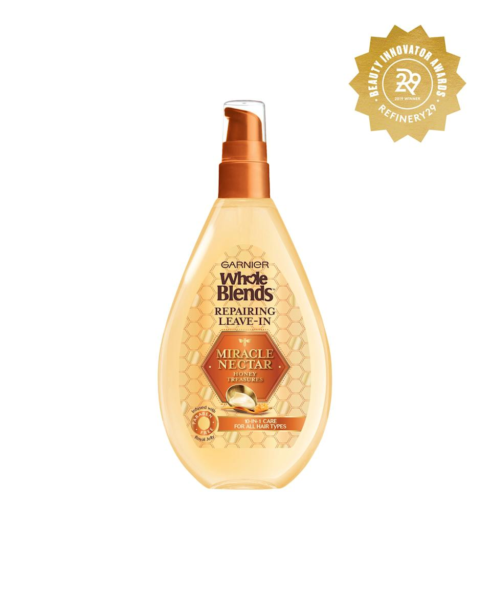 """<h2>Garnier Whole Blends 10-in-1 Miracle Nectar Leave-In Treatment</h2> <br>Most leave-in products are glorified detanglers, but this one — which is packed with honey extracts to strengthen, reduce frizz, and protect your strands from heat — <em>actually </em>does the work.<br><br><strong>Garnier</strong> Garnier Whole Blends Miracle Nectar Repairing Leave-In, $, available at <a href=""""https://www.target.com/p/garnier-whole-blends-miracle-nectar-repairing-leave-in-5-fl-oz/-/A-75560982#locklink"""" rel=""""nofollow noopener"""" target=""""_blank"""" data-ylk=""""slk:Target"""" class=""""link rapid-noclick-resp"""">Target</a><br>"""