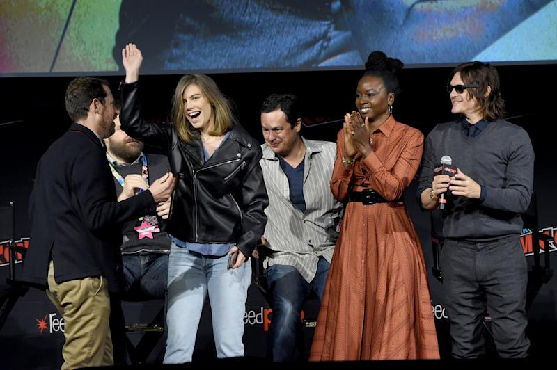 NEW YORK, NEW YORK - OCTOBER 05: (L-R) Scott Gimple, Robert Kirkman, Lauren Cohan, Dave Alpert, Danai Gurira and Norman Reedus speak onstage during a panel for AMC's The Walking Dead Universe including AMC's flagship series and the untitled new third series within The Walking Dead franchise at Hulu Theater at Madison Square Garden on October 05, 2019 in New York City. (Photo by Jamie McCarthy/Getty Images for AMC)