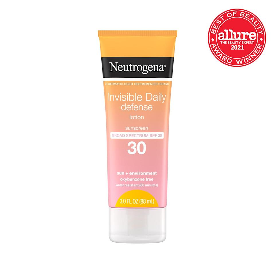 """We honestly can't tell if <strong>Neutrogena Invisible Daily Defense Sunscreen Lotion</strong><br> <strong>SPF 30</strong> is a broad-spectrum sunscreen parading as a weightless moisturizer or a weightless moisturizer parading as a <a href=""""https://www.allure.com/gallery/editors-favorite-sunscreens?mbid=synd_yahoo_rss"""" rel=""""nofollow noopener"""" target=""""_blank"""" data-ylk=""""slk:broad-spectrum sunscreen"""" class=""""link rapid-noclick-resp"""">broad-spectrum sunscreen</a>. The antioxidant-rich formula is that light and comfortable."""