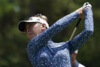 Jessica Korda watches her tee shot on the second tee during the final round of the LPGA Tour's Pure Silk Championship golf tournament in Williamsburg, Va., Sunday, May 23, 2021. (AP Photo/Steve Helber)