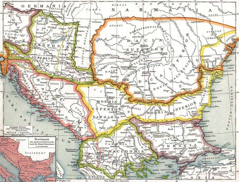 Nineteenth-century German map of Roman provinces in the Balkans (see number 2)