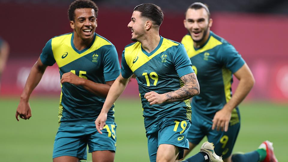 Marco Tilio, pictured here celebrating after scoring for the Olyroos against Argentina.