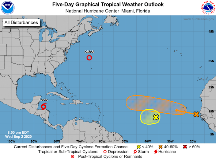 The National Hurricane Center is tracking a tropical storm, which could become Hurricane Nana, a tropical depression and two tropical waves that are expected to merge.