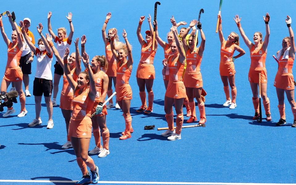 The Dutch celebrate making it to the gold-medal match - GETTY IMAGES