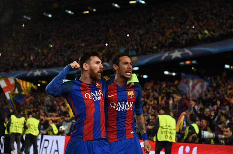 BARCELONA, SPAIN - MARCH 08: Lionel Messi (L) and Neymar of Barcelona celebrate their side's sixth goal during the UEFA Champions League Round of 16 second leg match between FC Barcelona and Paris Saint-Germain at Camp Nou on March 8, 2017 in Barcelona, Spain. (Photo by Etsuo Hara/Getty Images)
