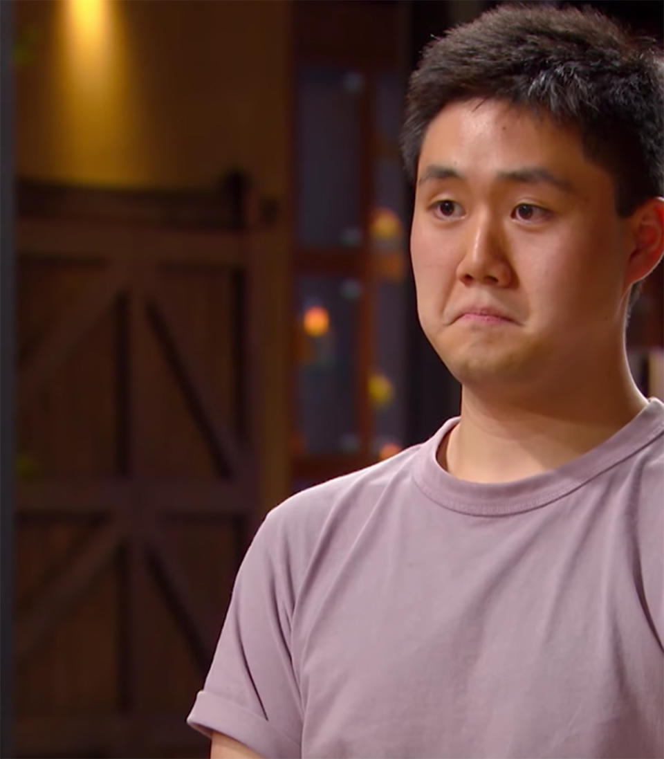 MasterChef contestant Eric Mao is taken aback while presenting his dish to the judges for tasting