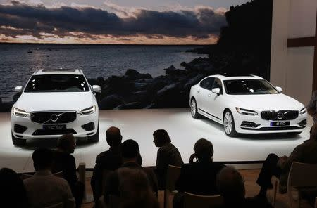 Volvo XC60 and Volvo S90 are displayed at the 2017 New York International Auto Show in New York
