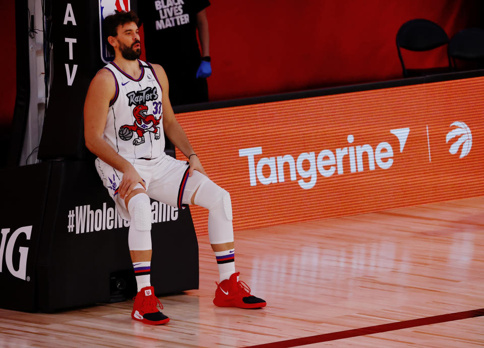 Marc Gasol #33 of the Toronto Raptors prior to the start of the game against the Memphis Grizzlies.