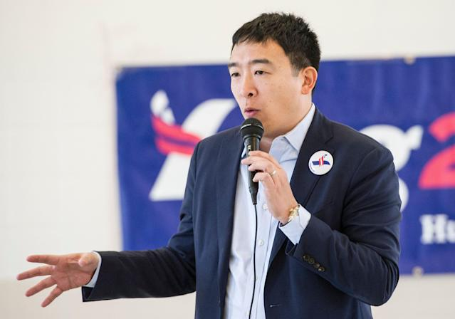 Andrew Yang is advocating for revenue-generating college athletes to receive a piece of that revenue. (AP Photo/Phil Long)