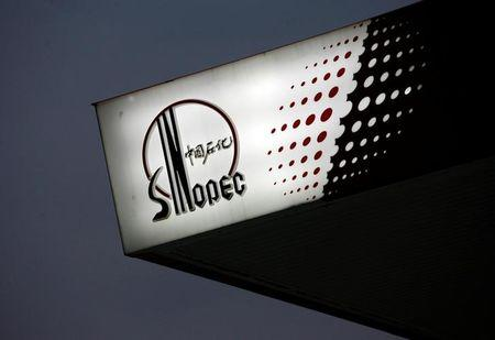 FILE PHOTO - The Sinopec logo is seen at one of its gas stations in Hong Kong