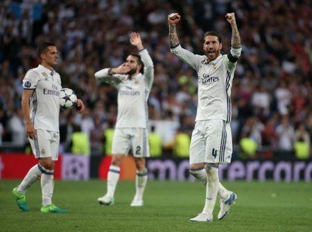 Real Madrid's Sergio Ramos celebrates after the match