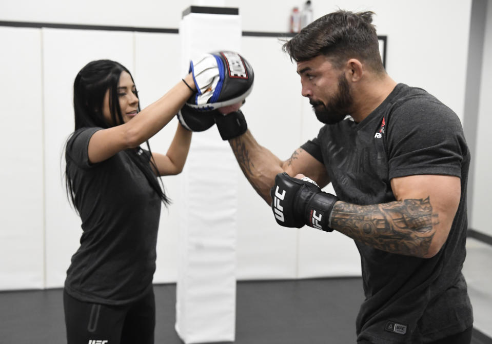 LAS VEGAS, NEVADA - JUNE 27: Mike Perry warms up prior to his fight during the UFC Fight Night event at UFC APEX on June 27, 2020 in Las Vegas, Nevada. (Photo by Mike Roach/Zuffa LLC)