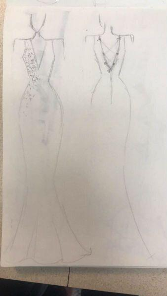 Courtney began sketching her sister's dress in November 2018. (Photo courtesy of Crystal Lewis)
