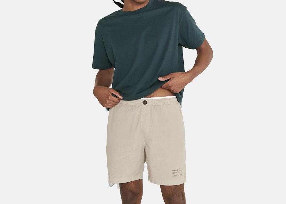 """Trade in your Entireworld sweats for these slim-fit, just-above-the-knee shorts, available in forest green, royal blue, butter yellow, beige, and charcoal. They're not meant for swimming, but they'll go with you everywhere else—light hikes, city vacations, and WFH days included. $55, Entireworld. <a href=""""https://theentireworld.com/men/product/shorts-mens-type-c-version-4-evergreen"""" rel=""""nofollow noopener"""" target=""""_blank"""" data-ylk=""""slk:Get it now!"""" class=""""link rapid-noclick-resp"""">Get it now!</a>"""