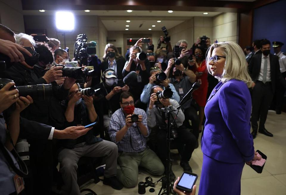 Liz Cheney speaks to reporters after she was removed from her leadership role at the US Capitol on 12 May.