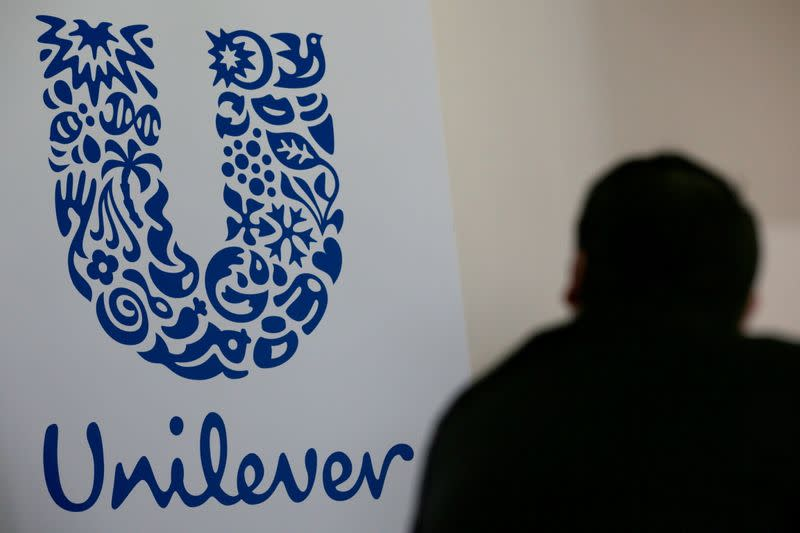 FILE PHOTO: File photo of the logo of the Unilever group