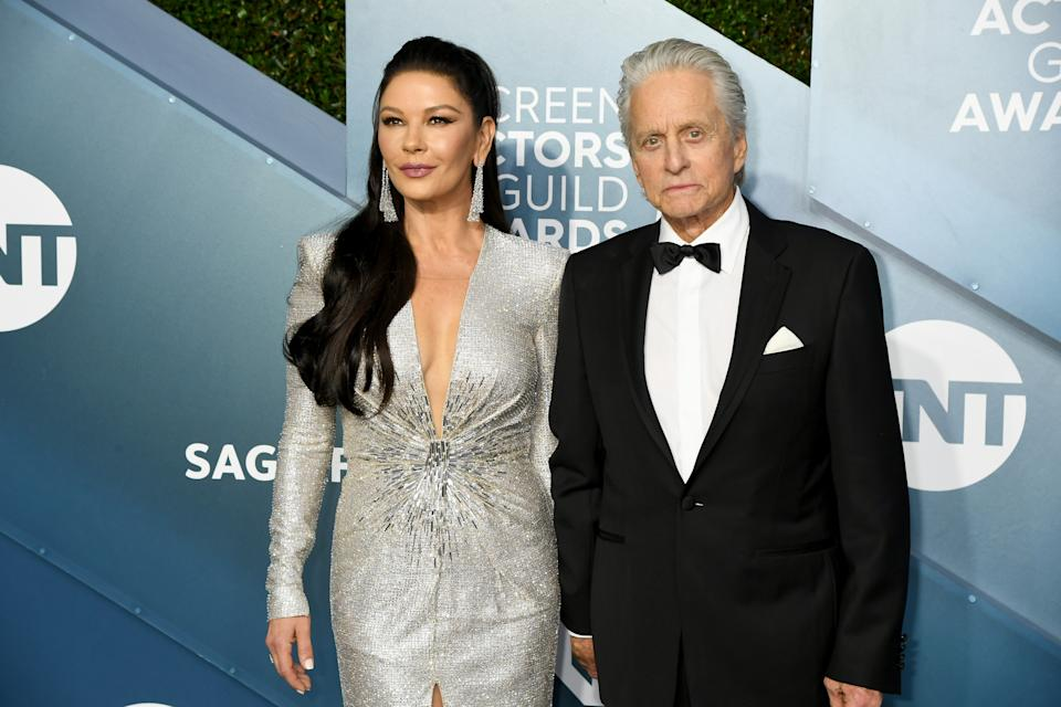 Catherine Zeta-Jones and Michael Douglas attend the 26th Annual Screen ActorsGuild Awards at The Shrine Auditorium on January 19, 2020 in Los Angeles, California. (Photo by Jeff Kravitz/FilmMagic)