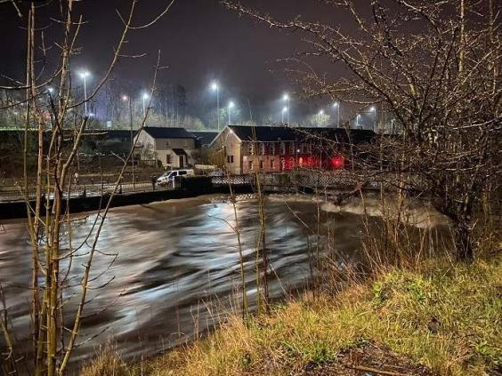 The River Taff in Pontypridd, South Wales, after heavy rainfall overnight, 29 February 2020. (Rhondda Cynon Taf Council/PA)
