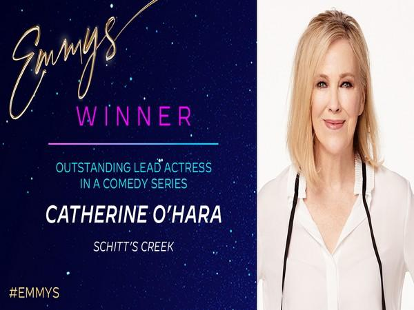 Catherine O'Hara wins 'Outstanding Lead Actress in a Comedy Series' for her portrayal of Moira Rose in Netflix's 'Schitt's Creek'. (Photo/ Television Academy Twitter)