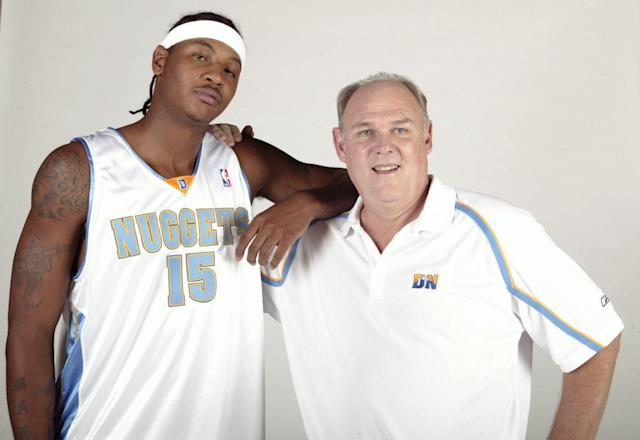 "George Karl coached <a class=""link rapid-noclick-resp"" href=""/nba/players/3706/"" data-ylk=""slk:Carmelo Anthony"">Carmelo Anthony</a> on the <a class=""link rapid-noclick-resp"" href=""/nba/teams/den/"" data-ylk=""slk:Denver Nuggets"">Denver Nuggets</a> from 2005-11. (Getty Images)"