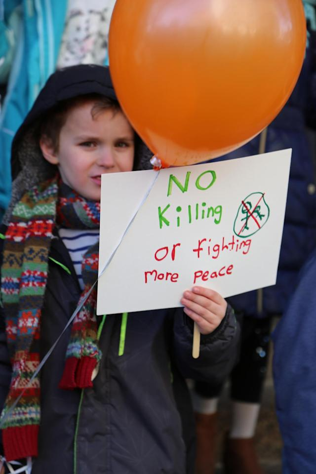 <p>Students at Science, Language and Arts International School participate in a walkout to address school safety and gun violence on March 14, 2018 in Brooklyn, New York. <br> (Photo: Getty Images) </p>