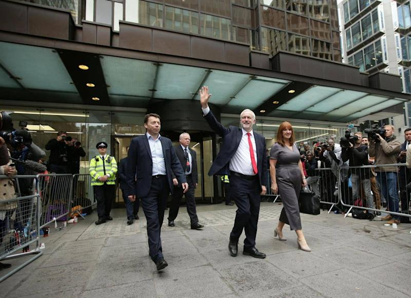 Jeremy Corbyn leaves Labour Party HQ in central London after he reiterated his call for Theresa May to resign as Prime Minister (PA)