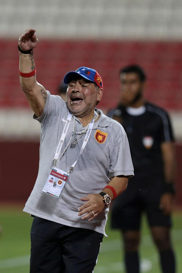Soccer Football - Al Fujairah v Khor Fakkan - UAE First Division - Fujairah stadium, Fujairah, United Arab Emirates - April 27, 2018 - Al Fujairah's manager Diego Maradona of Argentina reacts during the match. REUTERS/Christopher Pike
