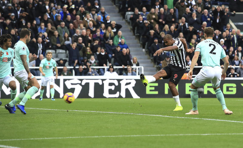 Newcastle United's Salomon Rondon scores his side's first goal of the game during the English Premier League soccer match between Newcastle United and AFC Bournemouth at St James Park stadium, Newcastle, England. Saturday Nov. 10 2018 (Owen Humphreys/PA via AP)