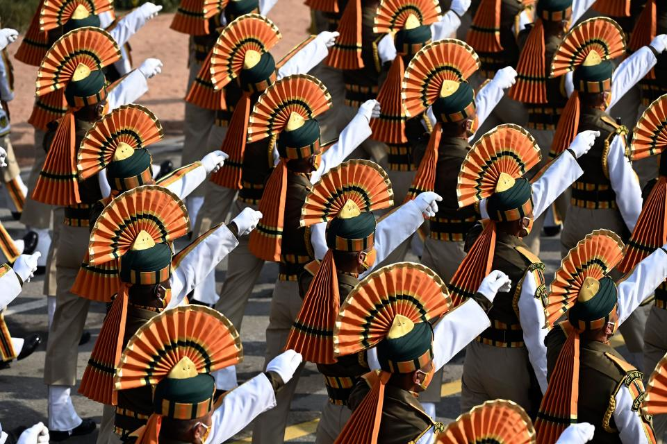 TOPSHOT - Soldiers march along Rajpath during the Republic Day Parade in New Delhi on January 26, 2021. (Photo by Jewel SAMAD / AFP) (Photo by JEWEL SAMAD/AFP via Getty Images)