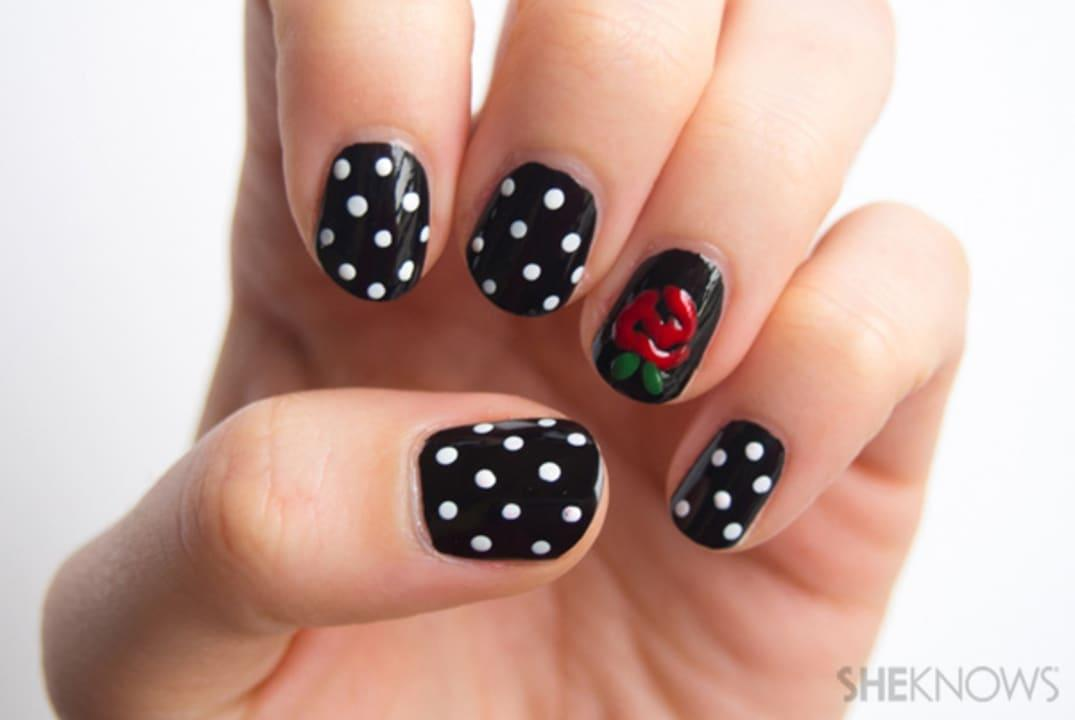 "Step up your Bachelor watching experience with this nail art design:""Will you accept this rose?"""