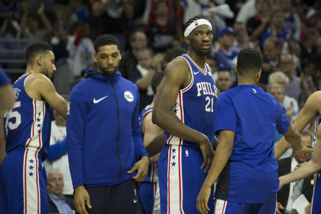 "<a class=""link rapid-noclick-resp"" href=""/nba/players/5434/"" data-ylk=""slk:Jahlil Okafor"">Jahlil Okafor</a> (second from left) has become the odd man out of the 76ers' big-man rotation. (Getty)"