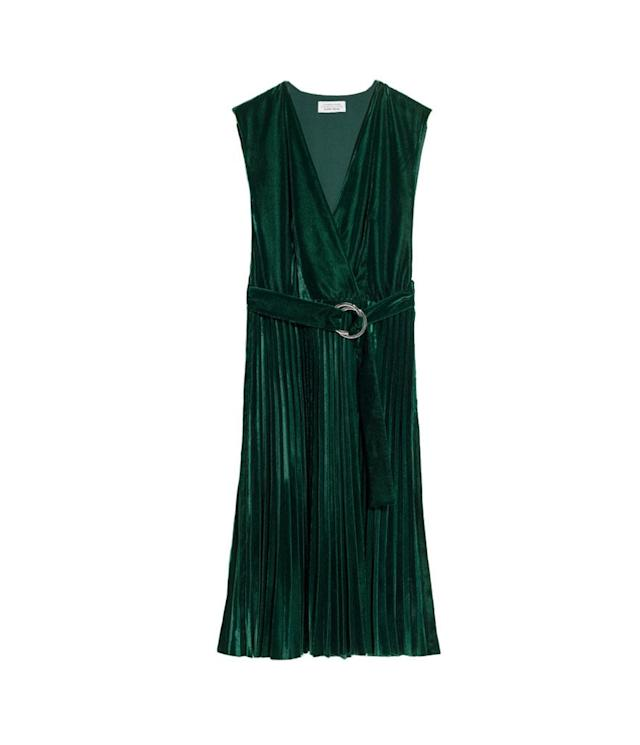 "<p>Pleated Velvet Dress, $125, <a href=""https://www.stories.com/us/Ready-to-wear/Dresses/Pleated_Velvet_Dress/582938-0514564001.2"" rel=""nofollow noopener"" target=""_blank"" data-ylk=""slk:stories.com"" class=""link rapid-noclick-resp"">stories.com</a> </p>"
