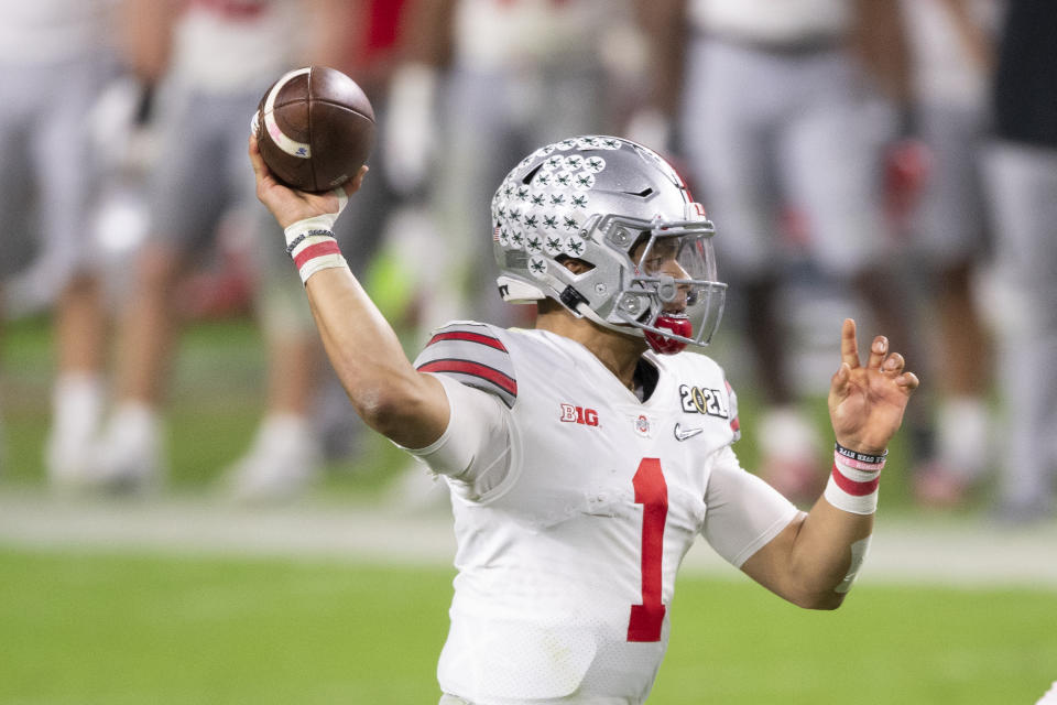 Ohio State quarterback Justin Fields could be the third QB selected in 2021. (Photo by Doug Murray/Icon Sportswire via Getty Images)