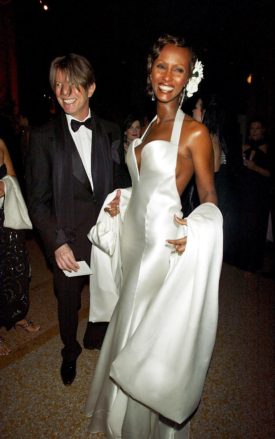 David Bowie and Iman in Calvin Klein