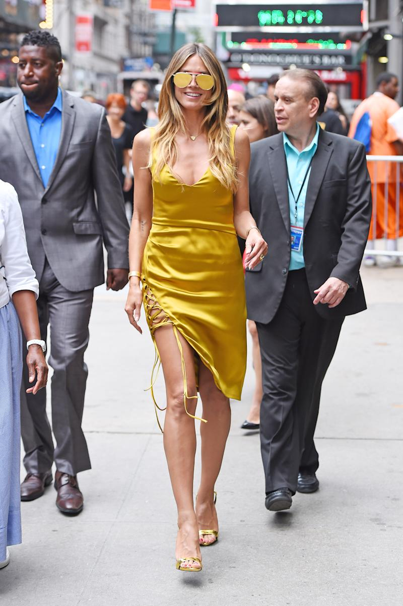 We don't want to speculate, but Heidi Klum <em>may</em> have gone for fuller coverage for her appearance on <em>Good Morning America</em> on July 6.