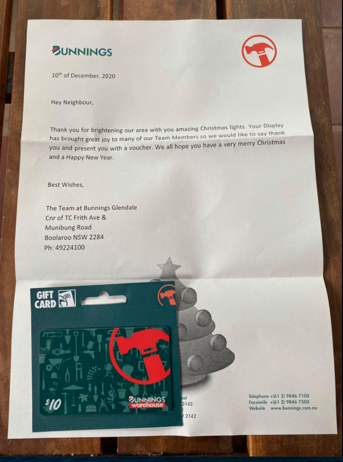 Bunnings letter and voucher over Christmas lights