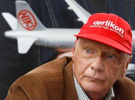 "FILE PHOTO: Austrian former Formula One champion Niki Lauda addresses the media during a news conference for his airline ""NIKI"" in Vienna"