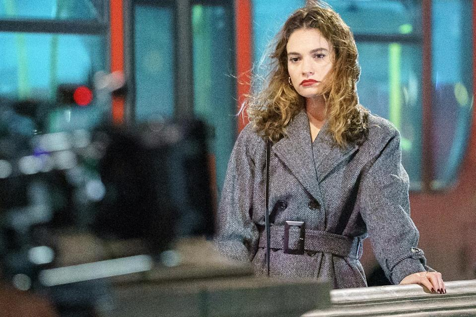 <p>Lily James was spotted filming over Battersea Bridge in London for her upcoming film <em>What's Love Got To Do with It</em>.</p>