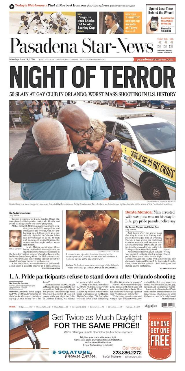 <p>Pasadena Star-News<br> Published in Pasadena, Calif. USA.(newseum.org) </p>