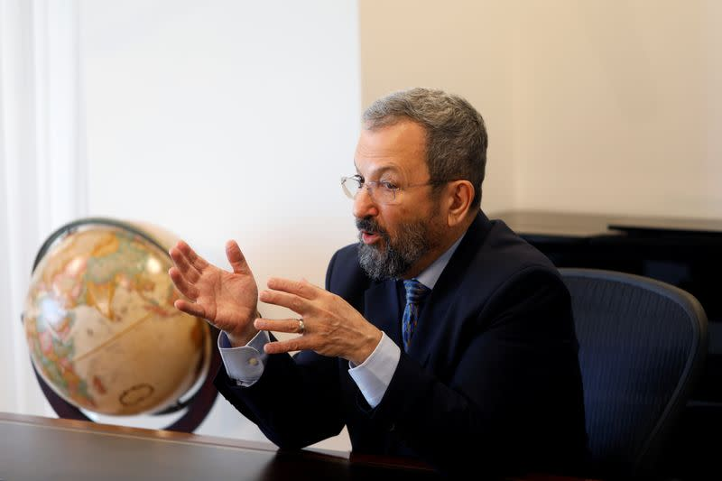 Ehud Barak, chairman of InterCure, a holding company of small medical firms, that bought medical cannabis developer Canndoc, speaks during an interview with Reuters in Tel Aviv