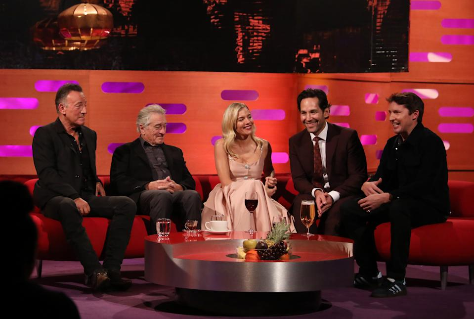 (left to right) Bruce Springsteen, Robert De Niro, Sienna Miller, Paul Rudd and James Blunt during the filming for the Graham Norton Show at BBC Studioworks 6 Television Centre, Wood Lane, London, to be aired on BBC One on Friday evening. (Photo by Isabel Infantes/PA Images via Getty Images)