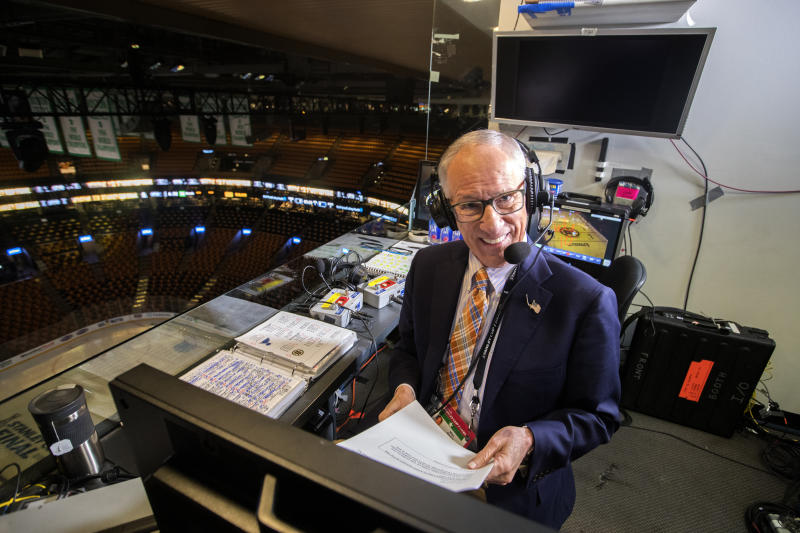 BOSTON - MAY 27: Hours before Game 1 of the Stanley Cup Finals between the Boston Bruins and the St. Louis Blues at TD Garden in Boston, NBC hockey play-by-play announcer Mike Emrick does voice overs in the empty arena on May 27, 2019. (Photo by Stan Grossfeld/The Boston Globe via Getty Images)