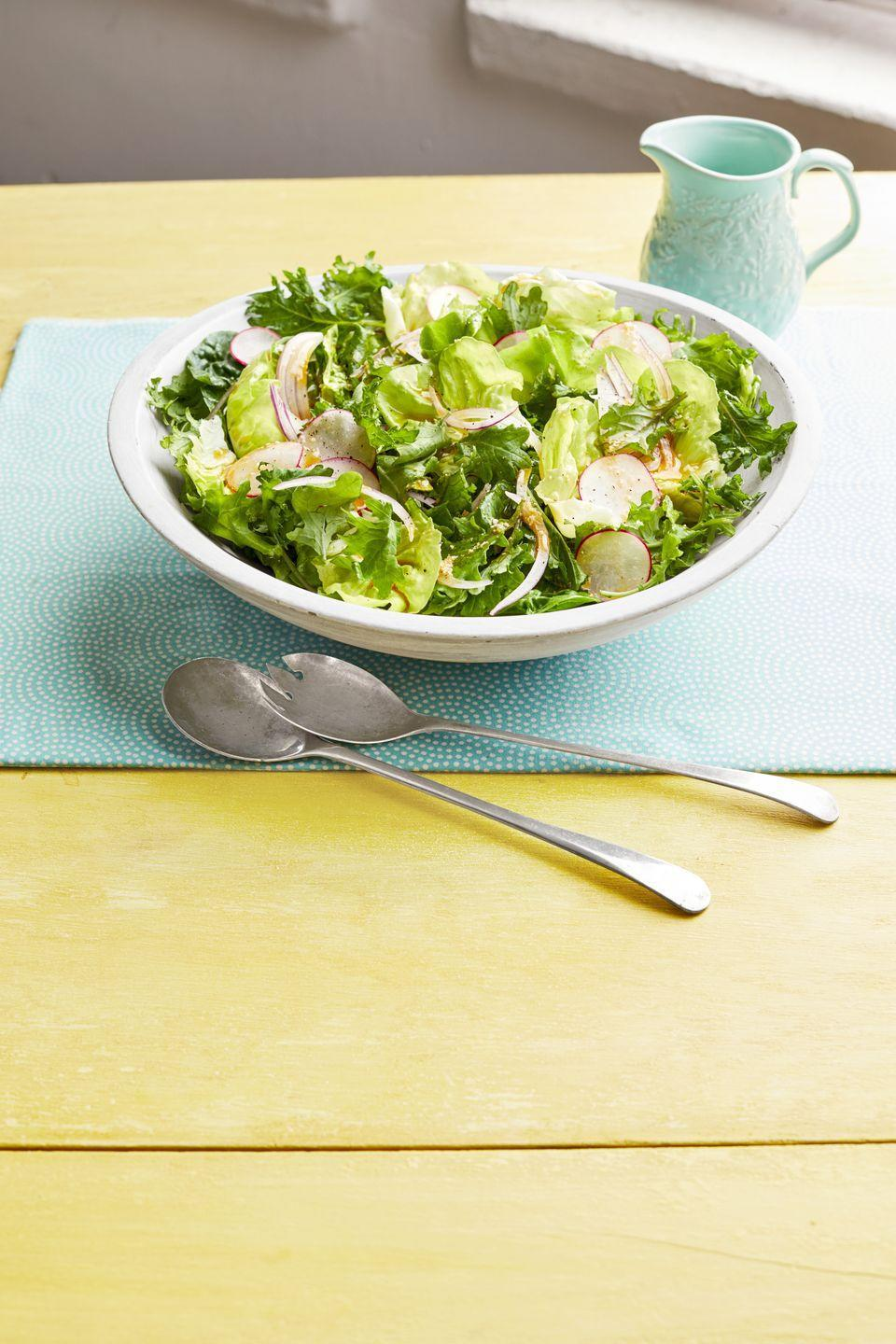 """<p>Ree Drummond has been making this dressing recipe from her Aunt Trish for years. It tastes great on any salad!</p><p><strong><a href=""""https://www.thepioneerwoman.com/food-cooking/recipes/a32252420/spring-salad-with-radishes/"""" rel=""""nofollow noopener"""" target=""""_blank"""" data-ylk=""""slk:Get the recipe."""" class=""""link rapid-noclick-resp"""">Get the recipe. </a></strong></p><p><a class=""""link rapid-noclick-resp"""" href=""""https://go.redirectingat.com?id=74968X1596630&url=https%3A%2F%2Fwww.walmart.com%2Fsearch%2F%3Fquery%3Dpioneer%2Bwoman%2Bserving%2Bplates&sref=https%3A%2F%2Fwww.thepioneerwoman.com%2Ffood-cooking%2Fmeals-menus%2Fg35514088%2Fbest-side-dishes-for-ham%2F"""" rel=""""nofollow noopener"""" target=""""_blank"""" data-ylk=""""slk:SHOP SERVING PLATES"""">SHOP SERVING PLATES</a></p>"""