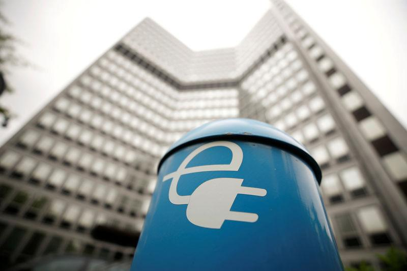 FILE PHOTO: A charging box for electric cars is pictured in front of the headquarters of the German power supplier RWE, which plans to break up subsidiary Innogy and share its assets with rival E.ON, in Essen