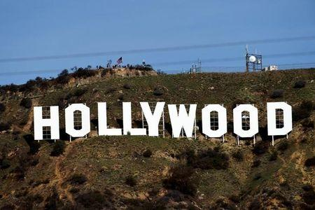 """A view shows the """"iconic """"Hollywood"""" sign overlooking Southern California's film-and-television hub, in the Hollywood Hills in Los Angeles, California"""