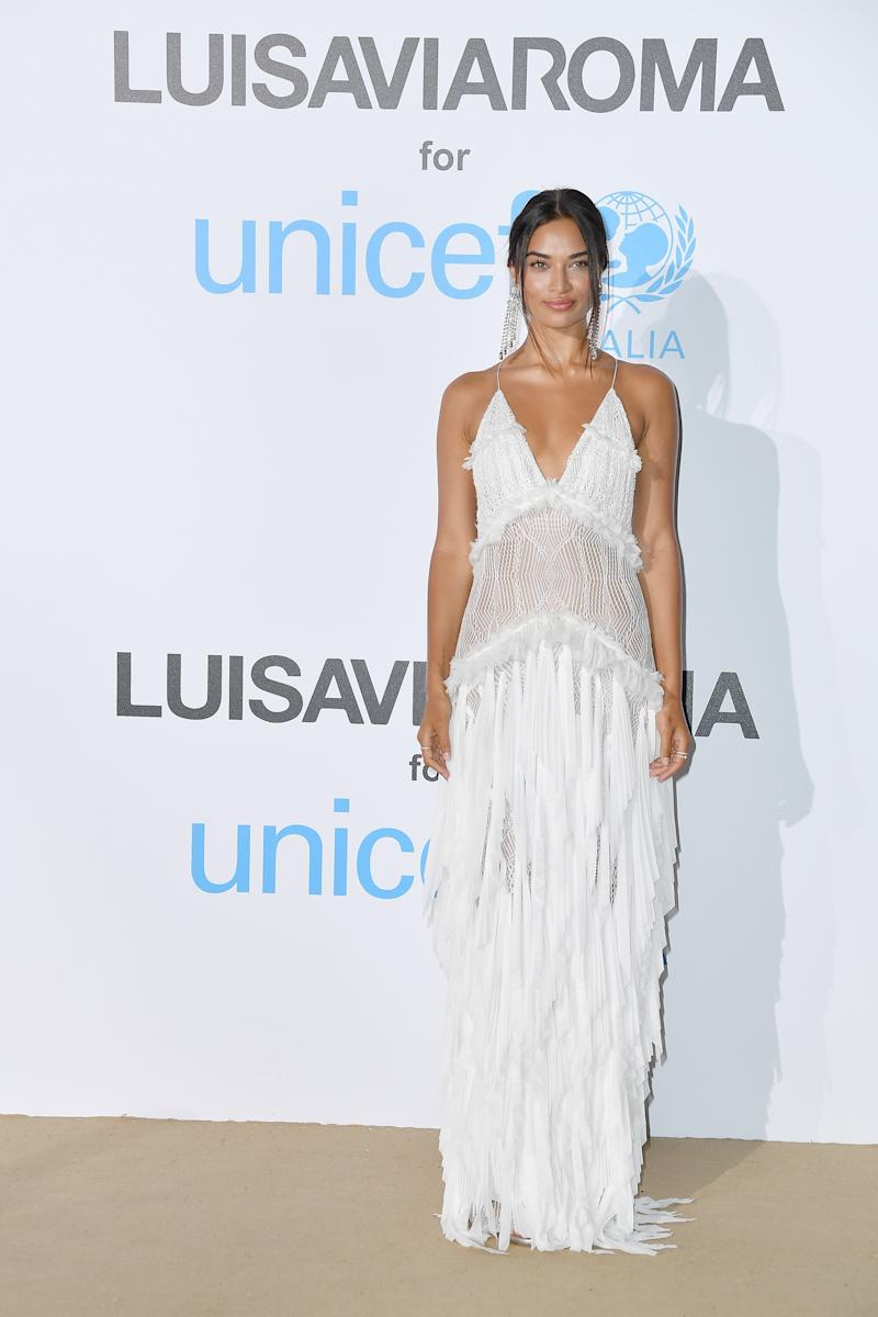 WHO: Shanina Shaik WHAT: Jonathan Simkhai WHERE: UNICEF Summer Gala, Porto Cervo, Italy WHEN: August 10, 2018