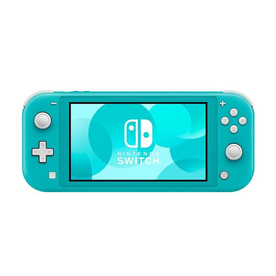 """<p><strong>Nintendo</strong></p><p>amazon.com</p><p><strong>$199.00</strong></p><p><a href=""""https://www.amazon.com/dp/B084Y3VVNG?tag=syn-yahoo-20&ascsubtag=%5Bartid%7C2089.g.3395%5Bsrc%7Cyahoo-us"""" rel=""""nofollow noopener"""" target=""""_blank"""" data-ylk=""""slk:Shop Now"""" class=""""link rapid-noclick-resp"""">Shop Now</a></p><p>Great for long car rides or commuting to work, Nintendo's newest portable console system is perfect for solo on the go play. It'll help you feel like a kid again, thanks to its compatibility with all popular Switch games that support handheld mode, like <em>Super Smash Bros</em>., <em>The Legend of Zelda</em>, <em>Mario Kart</em>, and more.</p>"""