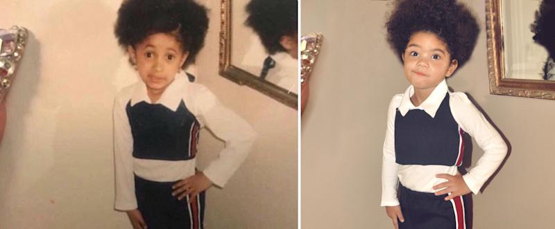 "Jada Taylor as young Cardi B in the ""My Momma told me"" meme. (Photo: Rachel Taylor)"