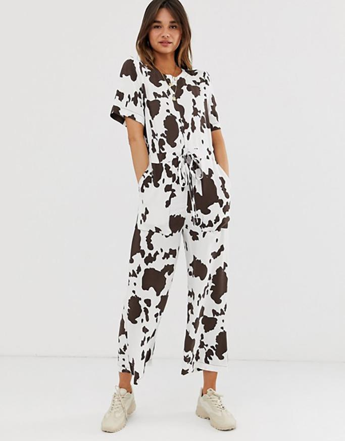 Asos Contrast Stitch T-shirt Jumpsuit in Cow Animal Print
