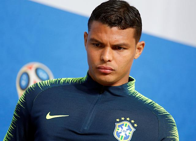 Soccer Football - World Cup - Brazil Press Conference - Saint Petersburg Stadium, Saint Petersburg, Russia - June 21, 2018 Brazil's Thiago Silva during the press conference REUTERS/Anton Vaganov